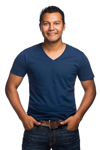 Smiling man in jeans and blue t-shirt